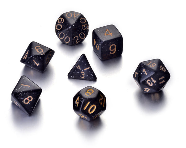 7 Die Polyhedral Role Playing Game Dice Set with Velvet Pouch (Sparkle Colors)