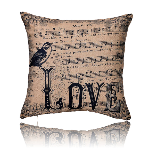 18'' X 18'' Love Music Score Print Cotton Linen Decorative Pillow Cover Cushion Case