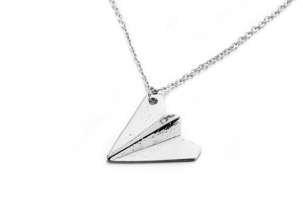 "Silver Tone Harry's Paper Airplane Style Pendant with a 20"" Adjustable Link Chain Necklace"