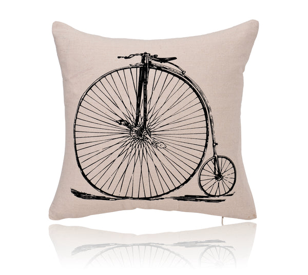 18'' X 18'' Penny-Farthing Bike Print Cotton Linen Decorative Pillow Cover Cushion Case
