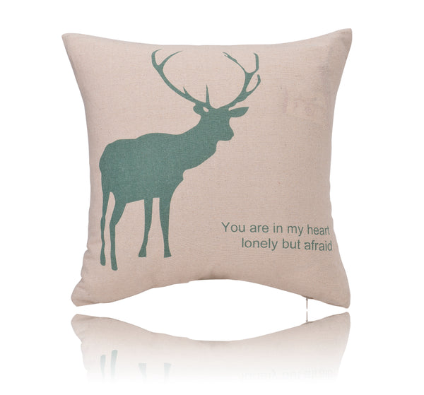 "18"" Reindeer Print Cotton Linen Decorative Pillow Cover Cushion Case"