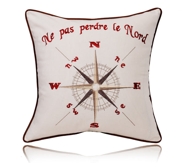 "18"" Compass Print Cotton Linen Decorative Pillow Cover Cushion"