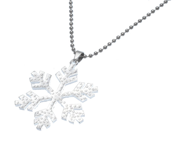 Frozen Inspired Snow Snowflake with Crystal Ice Enchanted Pendant Necklace