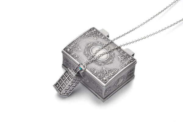 Doctor Who Silver Tardis 3D Police Box Necklace