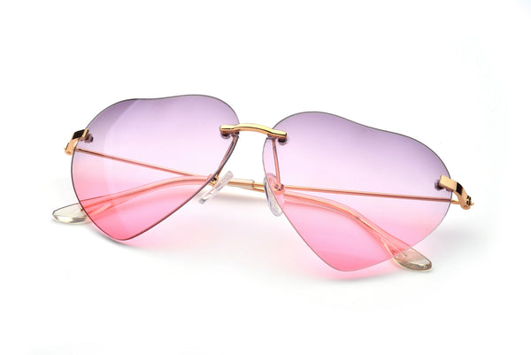 Heart Shape Fade Effect Rimless Style Sunglasses