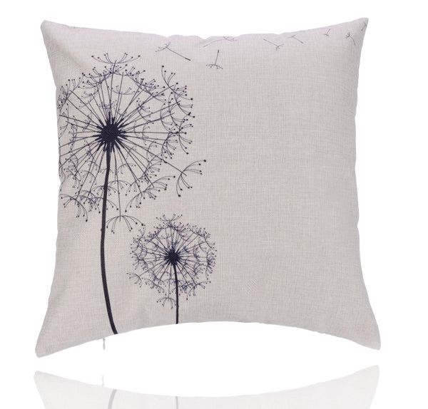 18'' X 18'' Premium Dandelion Print Cotton Linen Decorative Pillow Cover Cushion Case
