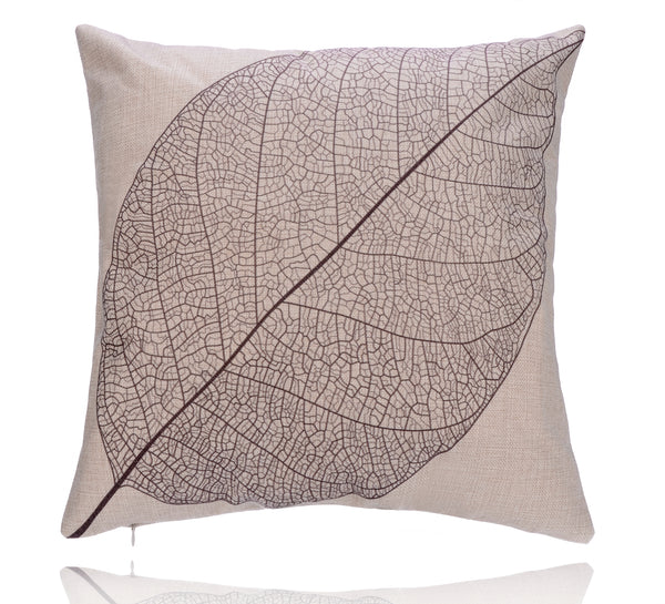 18'' X 18'' Premium Coffee Leaf Print Cotton Linen Decorative Pillow Cover Cushion Case