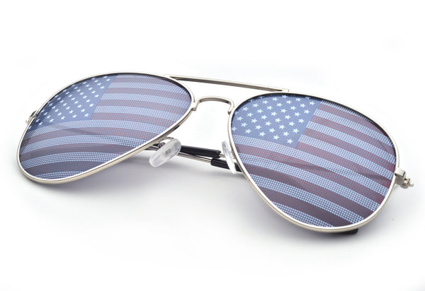 Patriotic American Flag Aviator Style Sunglasses