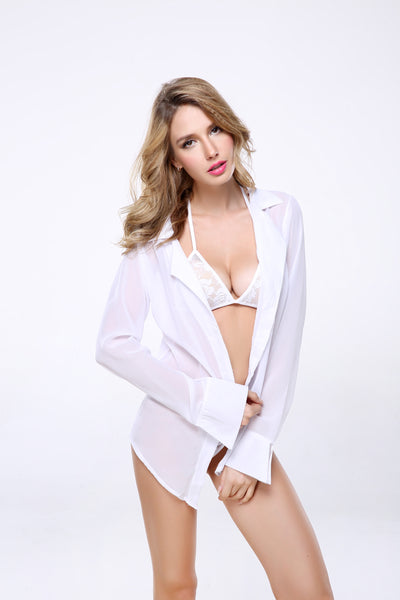 3PCs Women's Sexy Sheer Button Front Blouse Complete Set