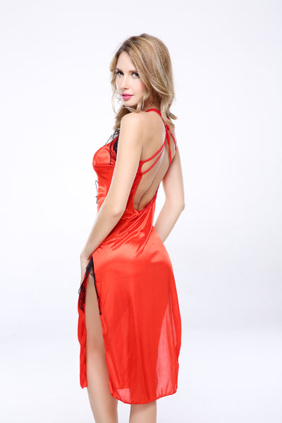 Sexy Red Hot Satin Lace Midi Slip Dress Racy Lingerie Set