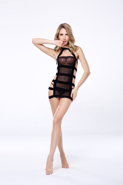 2 PCs Women's Sexy Ultimate Strappy Wrap Around Dress Set
