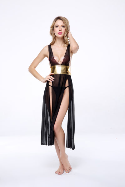 2 PCs Women's Sexy Stunning Black Sheer Panel Gown With Accent Gold band Racy Lingerie Set