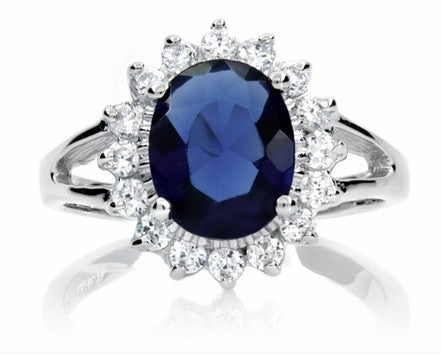 Premium Kate Middleton's Engagement Necklace Ring Earring Set Simulated Sapphire Blue Color Cubic Zirconia
