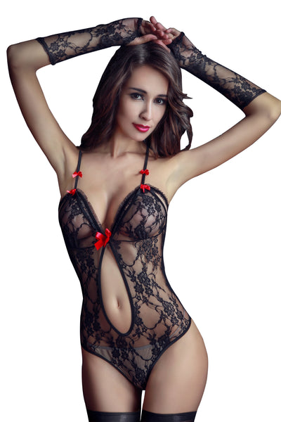 5 PCs Sexy Transparent Hollow Out Mesh Cosplay Costume Nightie Racy Lingerie Complete Set