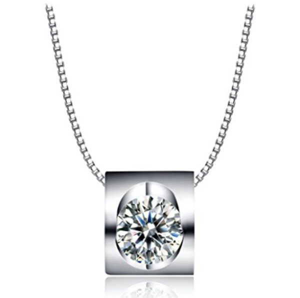 Square Sterling Silver Pendant with a Sparkling Eye-Catching Crystal on a Delicate Dainty Chain