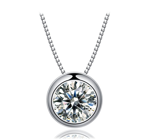 Beautiful Sterling Silver Round Cut Shiny Necklace With A Elegant Delicate Chain