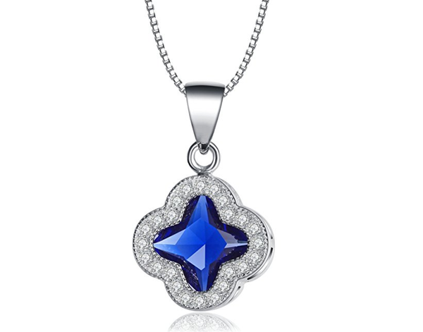 terling Silver Stunning Blue Jewel Surrounded By A Cluster Crystals in a Clover Shape Necklace