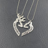 Image of Her Buck His Doe Kissing Heart Pendant