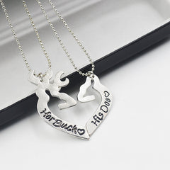 Her Buck His Doe Kissing Heart Pendant