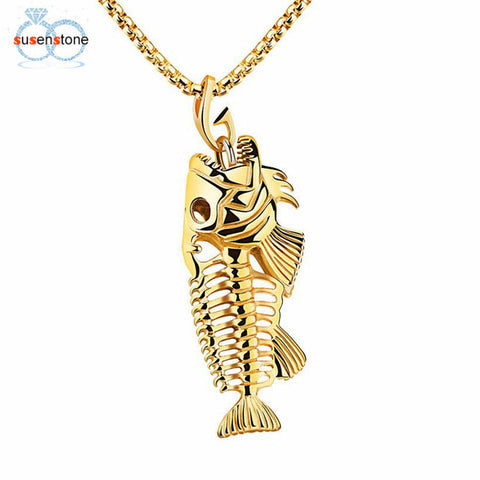 SUSENSTONE New Fish Bone Fish Skeleton Stainless Steel Pendant Surfer Chain Necklace
