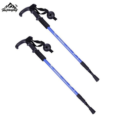 1 Pair Adjustable Telescopic Hiking Climbing Walking Stick Trekking Pole Anti-shock Anti-skid Alpenstock #W21