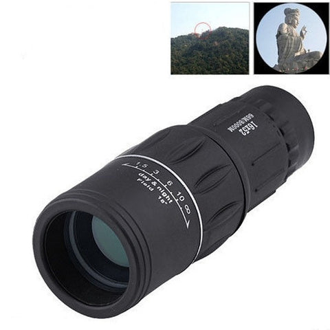 16 x 52 Dual Focus Zoom Optic Lens Armoring Monocular Telescope Outdoor (Color Black)