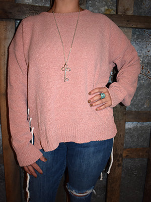 Dusty Pink Side Lace  Sweater