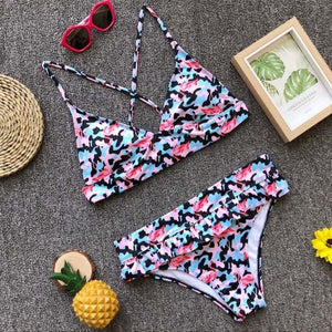 Flawless Women Sexy Floral Bikini Set Push-Up