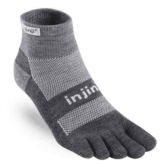Injinji Men's Outdoor Midweight Mini-Crew Nuwool, Charcoal