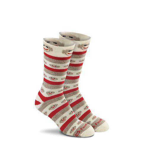 Fox River Women's Red Heel® Monkey Stripe Crew Socks, Brown Heather