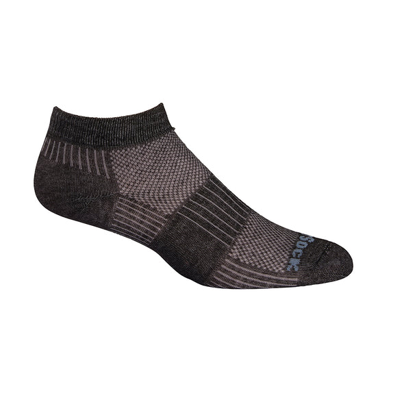 Wrightsock CoolMesh II Lo Qtr Socks, Black Marl