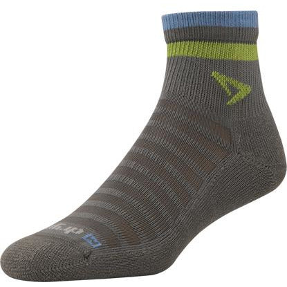 Drymax Extra Protection Hot Weather 1/4 Crew Socks, Dark Grey/Lime/Blue