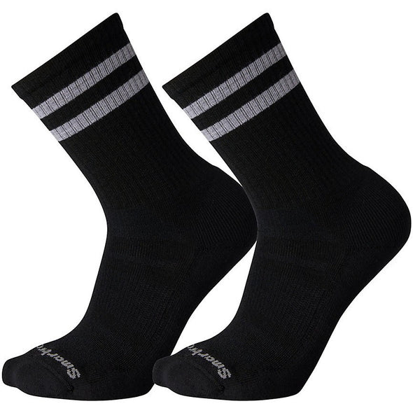 Smartwool Men's Athletic Light Elite Stripe Crew Socks, 2-Pack, Black