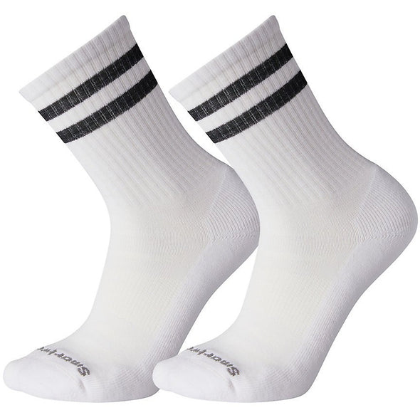 Smartwool Men's Athletic Light Elite Stripe Crew Socks, 2-Pack, White/Black