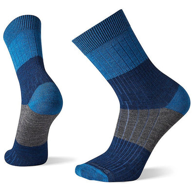 Smartwool Men's Rib Color Block Crew Socks, Alpine Blue
