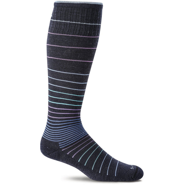 Sockwell Women's Circulator Moderate Compression Socks, Navy Stripe