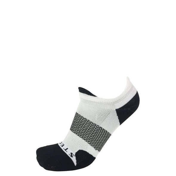 Stego RunTec Pro-Light No Show Tab Socks, White/Black