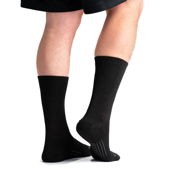 Stego StrideTec+ Merino Wool Ultra Light Crew Socks, Black, Rear