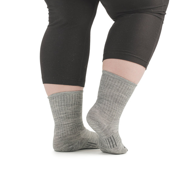 Stego StrideTec+ Merino Wool Ultra Light Crew Socks, Grey, Rear