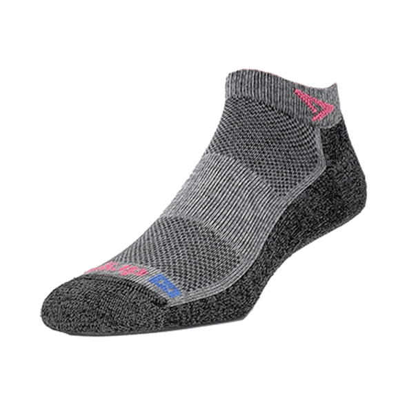 Drymax Extra Protection Running Mini Crew Socks, Grey/October Pink