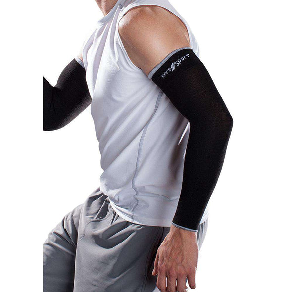 Core-Sport Mild Compression Arm Sleeves, Black