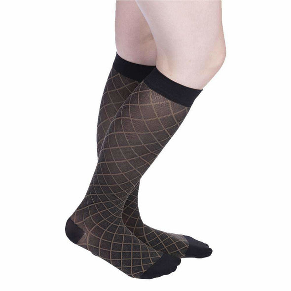 VenaCouture Women's Sheer Designs Diamond Compression Socks, Black/Natural