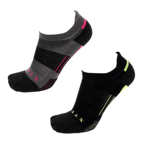 Stego RunTec Light No Show Color 2-Pack, Fuchsia/Lime