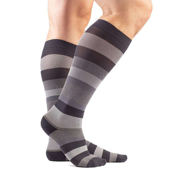 VenaCouture Men's Bold Regency Stripe Compression Socks, Graphite