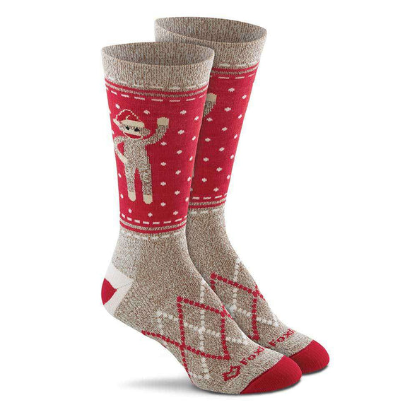 Fox River Women's Red Heel® Monkey Santa Crew Socks, Brown Heather