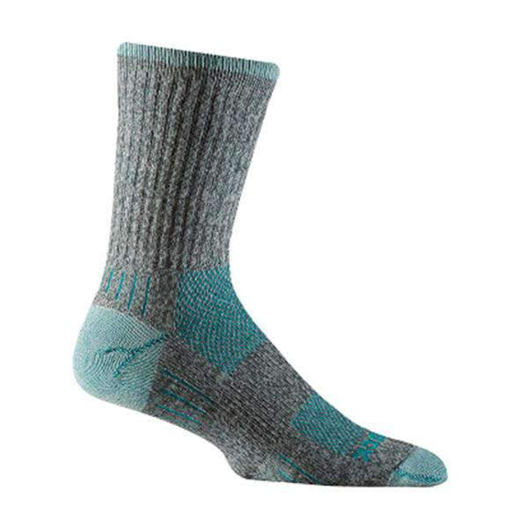 Wrightsock Escape Crew Socks, Ash Twist/Turquoise