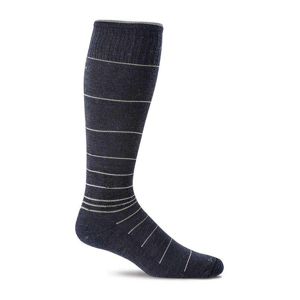 Sockwell Men's Circulator Moderate Compression Socks, Navy Stripe