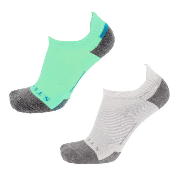 Stego RunTec Light No Show Color 2-Pack, Teal/White