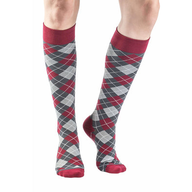 VenaCouture Women's Bold Mini-Argyle Compression Socks, Red Stone