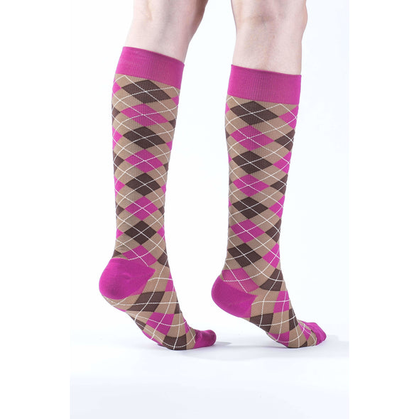 VenaCouture Women's Bold Mini-Argyle Compression Socks, Neopolitan